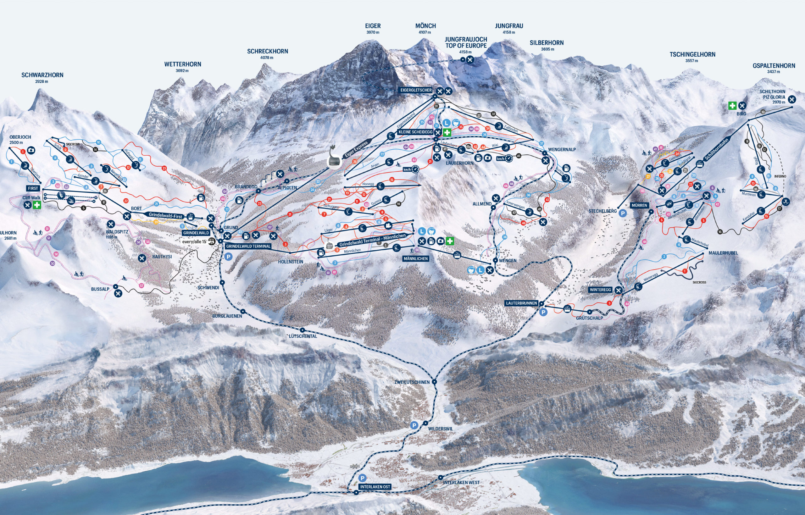 Winterlaken Card - slope map ski area Jungrau Region